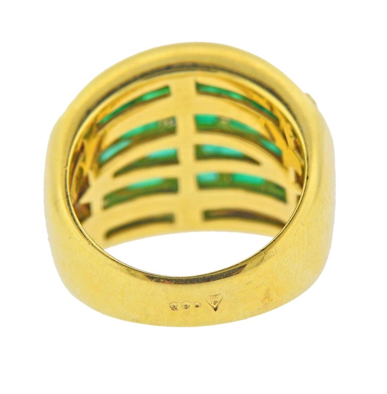 Baguette Cut Vibrant Emerald and Diamond Yellow Gold Dome Ring For Sale
