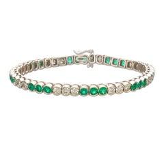 Vibrant Emerald & Diamond Line Bracelet