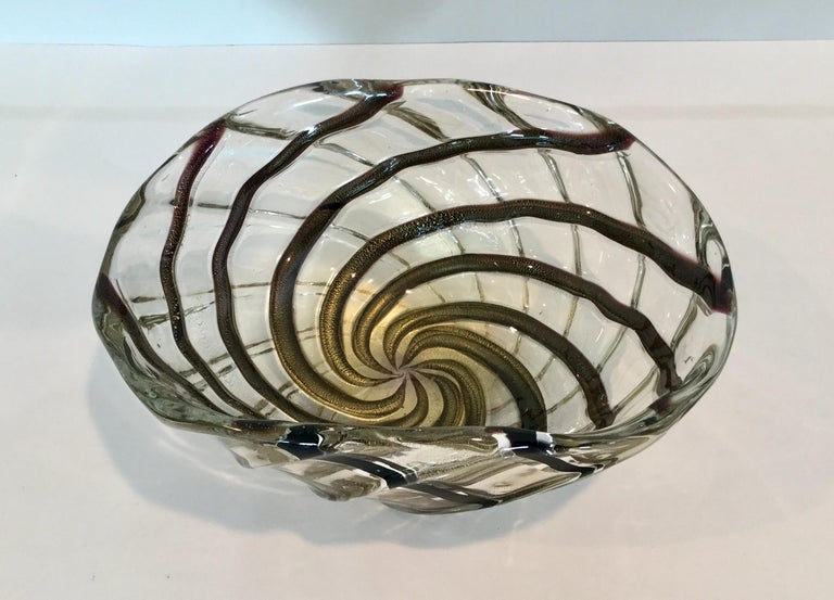 Mid-Century Modern Vibrant Gold with Stripes Murano Bowl by Archimede Seguso For Sale