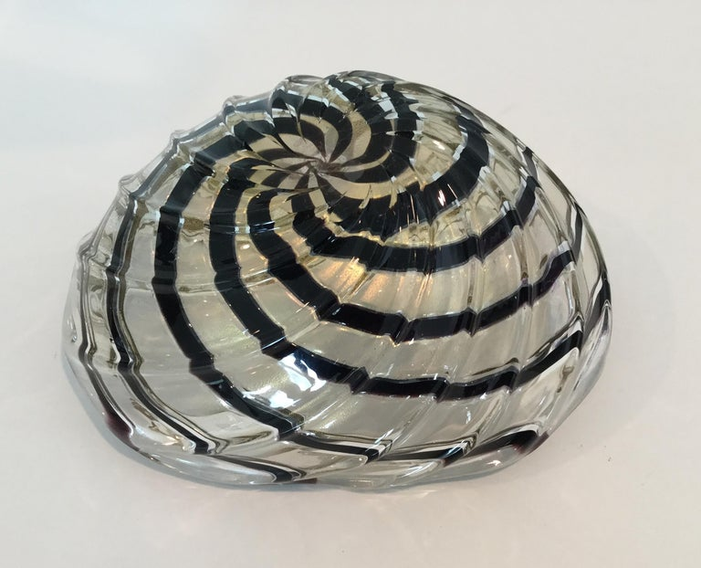 Italian Vibrant Gold with Stripes Murano Bowl by Archimede Seguso For Sale