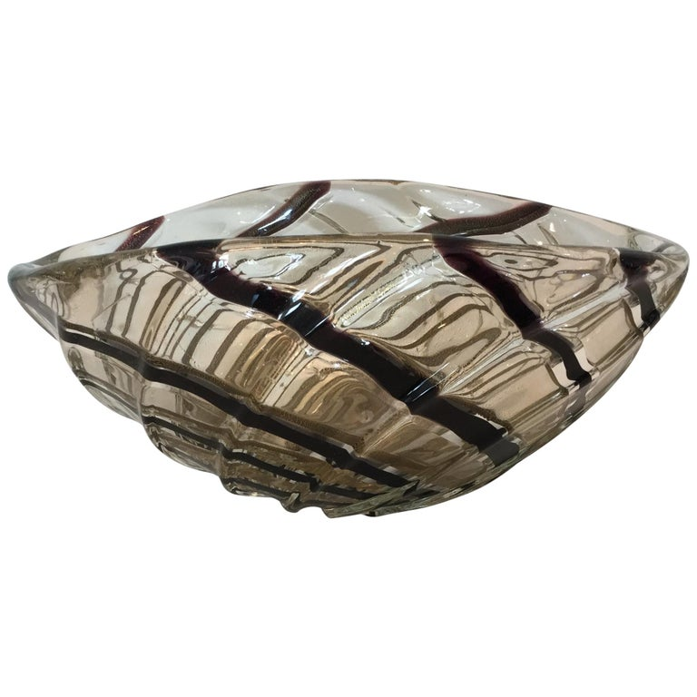 Vibrant Gold with Stripes Murano Bowl by Archimede Seguso For Sale