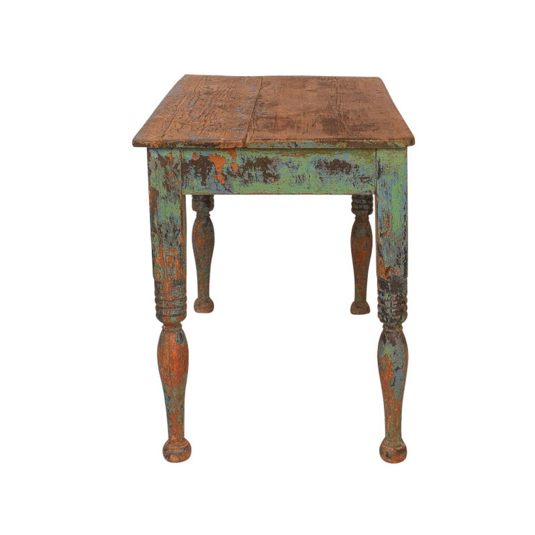 Country Vibrant green Spanish Colonial Work Table, circa 1880 For Sale