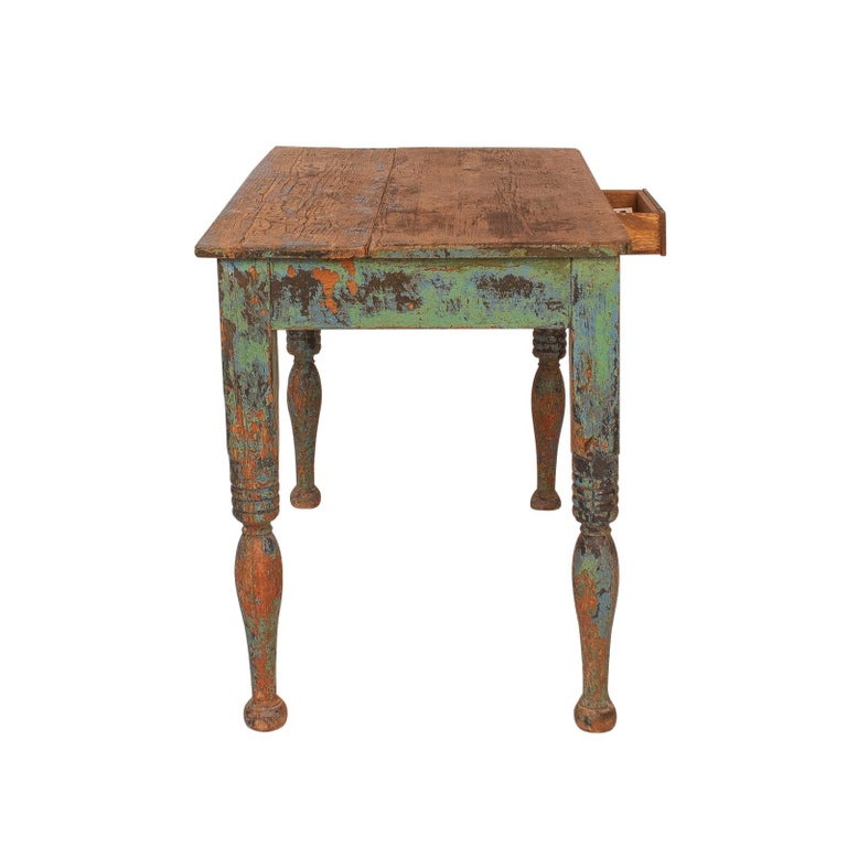 Central American Vibrant green Spanish Colonial Work Table, circa 1880 For Sale