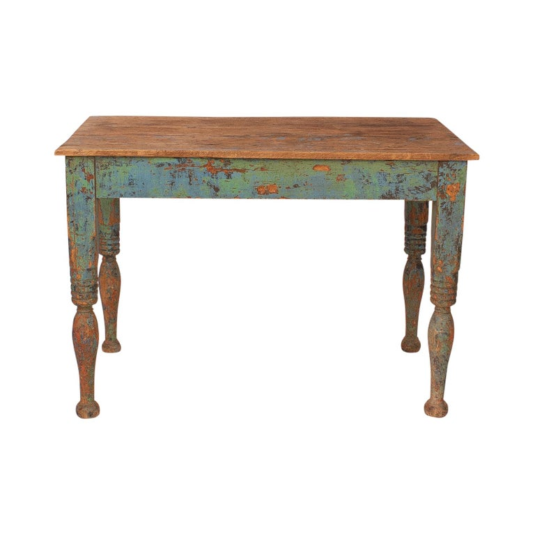 Vibrant green Spanish Colonial Work Table, circa 1880 In Good Condition For Sale In San Francisco, CA