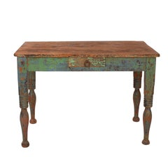 Vibrant green Spanish Colonial Work Table, circa 1880