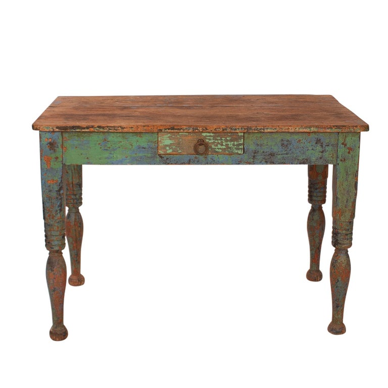 Vibrant green Spanish Colonial Work Table, circa 1880 For Sale