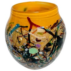 Vibrant Hand Blown Art Glass Signed by Artist John Gerletti