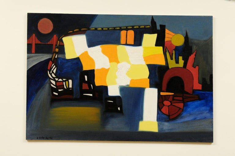 A fabulous modern abstract by enormously talented Arnold Weber (1931-2010). Tremendous mood and energy. Expert use of vibrant color that will bring a smile to your face. This Killer piece succinctly captures the feeling of the late 1960s - and all