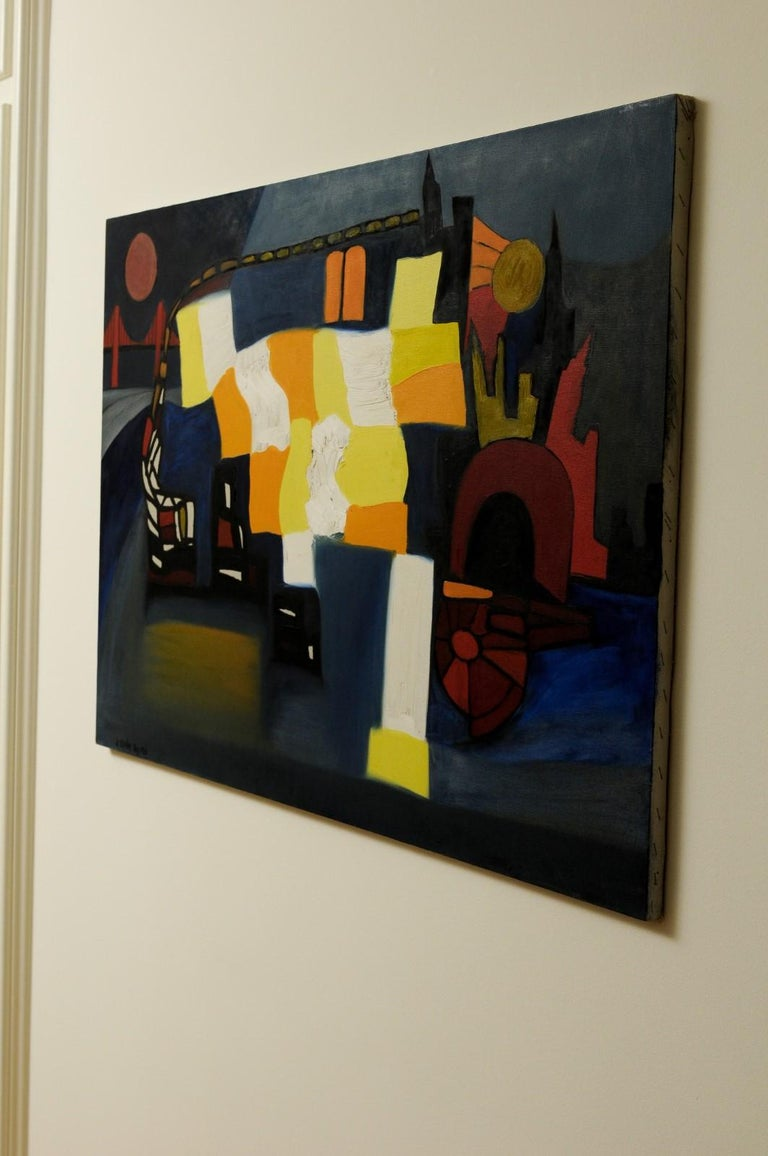 Vibrant Modern Abstract by Arnold Weber, Dated Aug. 1968 For Sale 2