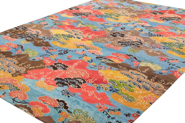 Tibetan Vibrant Blue, Orange, yellow and Brown Modern Wool Floral Area Rug For Sale