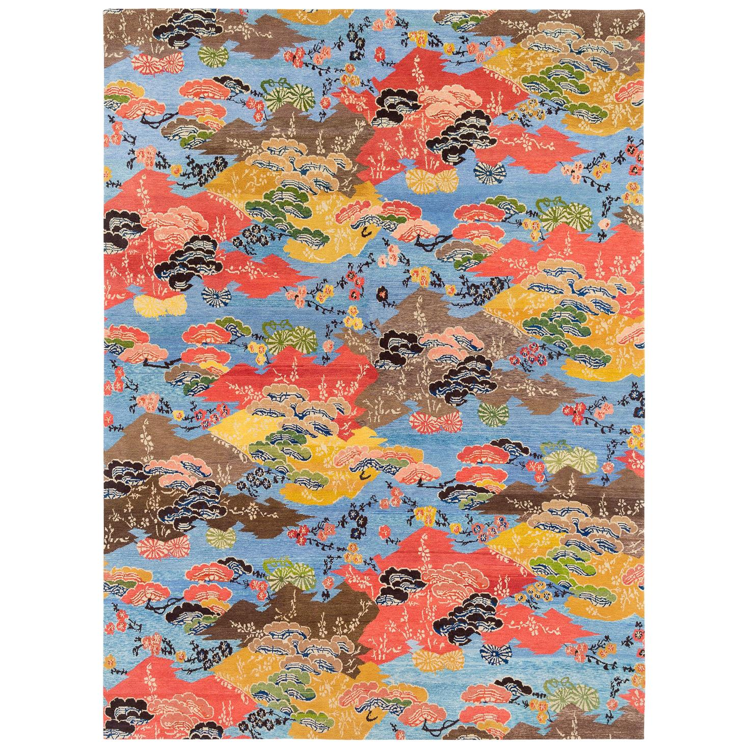 Vibrant Blue, Orange, yellow and Brown Modern Wool Floral Area Rug