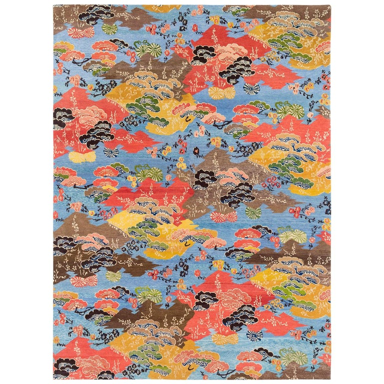 Vibrant Blue, Orange, yellow and Brown Modern Wool Floral Area Rug For Sale