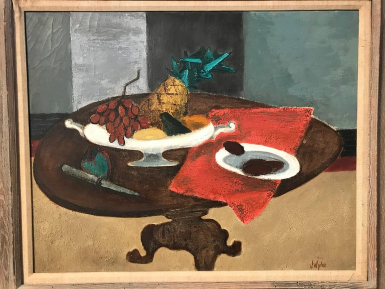 """Vibrant oil on canvas still life by Virginia Wylie. Signed: """"V Wylie""""."""