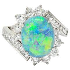 Vibrant Opal Diamond Platinum Cluster Bypass Ring