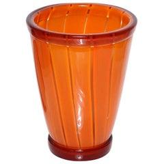 Vibrant Orange Vase by Seguso Viro