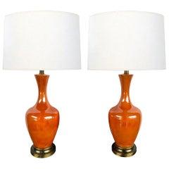 Vibrant Pair of 1960's Iridescent Orange-Glazed Bottle-Form Lamps