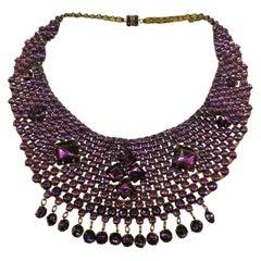 Vibrant purple cut glass 'bib' necklace, att. Lanvin, France, 1920s