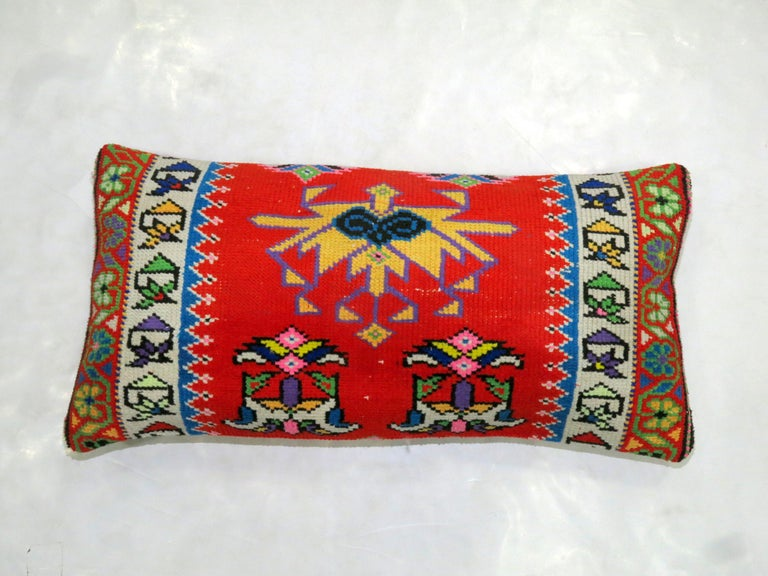 Bohemian Vibrant Red and Blue Large Vintage Turkish Bolster Size Rug Pillow For Sale