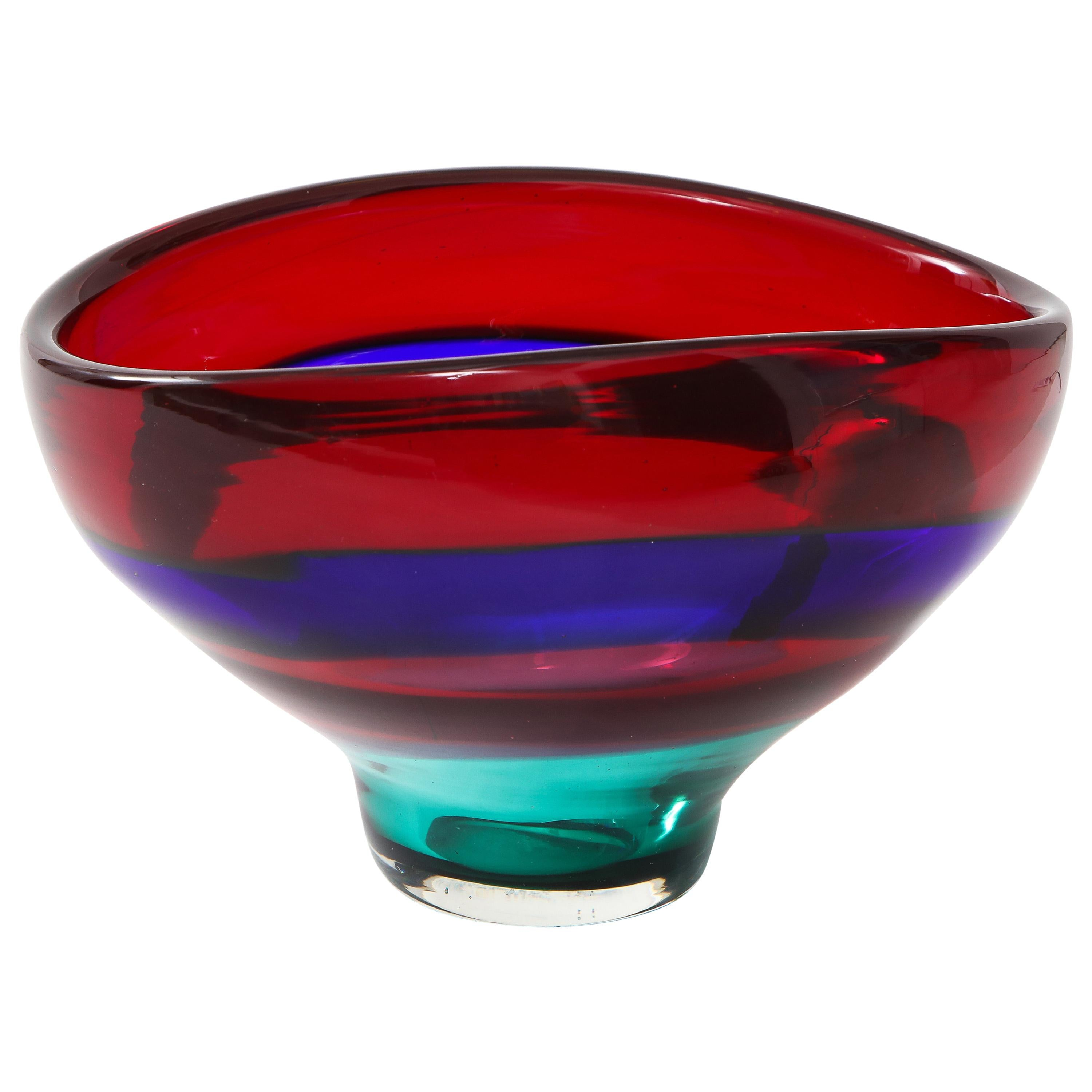 Vibrant Red Blue and Green Murano Glass Bowl by Fluvio Bianconi