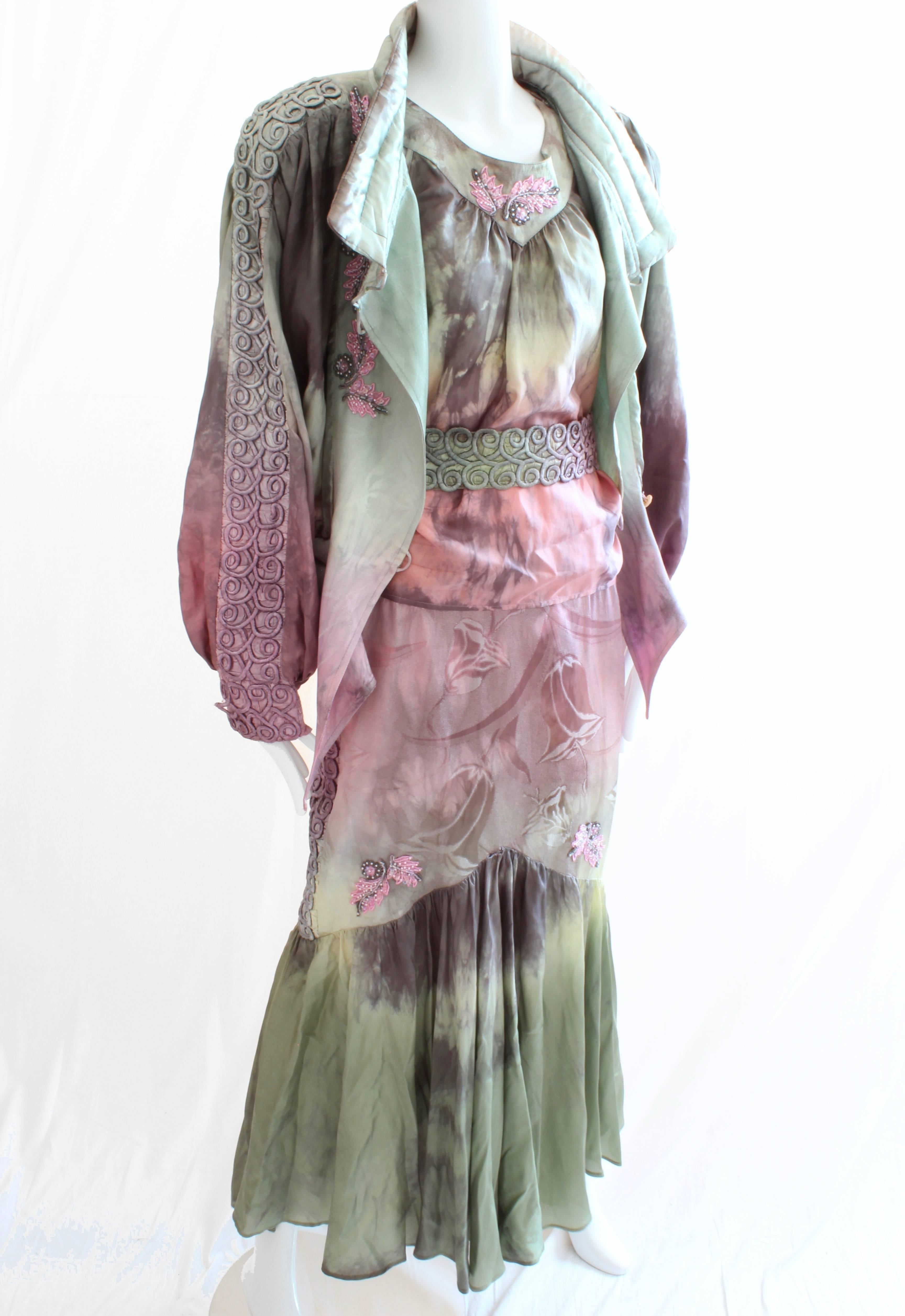 185edaa9ffe Silk Tie-Dye Suit Bomber Jacket Top Skirt and Belt 4 Piece Set, 1980s For  Sale at 1stdibs