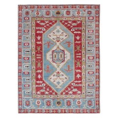 Vibrant Turkish Rug with Colorful and Bright Medallion and Geometric Design