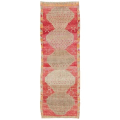 Vibrant Turkish Vintage Runner in Faded Red, Coral, Orange, Pink and Green