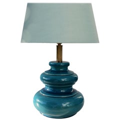 Vibrant Turquoise Ceramic Celadon Table Lamp with Fine Crackle Glaze