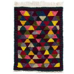 """Vibrant Vintage Handmade Modern """"Tulu"""" Rug, Soft Cozy Wool Pile"""