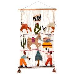 Vibrant Vintage Hanging Wall Art Wool Tapestry PERU