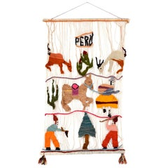 Vibrant Vintage Hanging Wall Art Tapestry Wool Weave from PERU