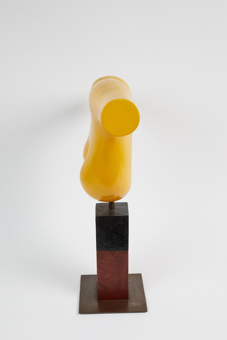 Vibrant Yellow Painted Resin Sculpture by Henry Wanton Jones For Sale 1