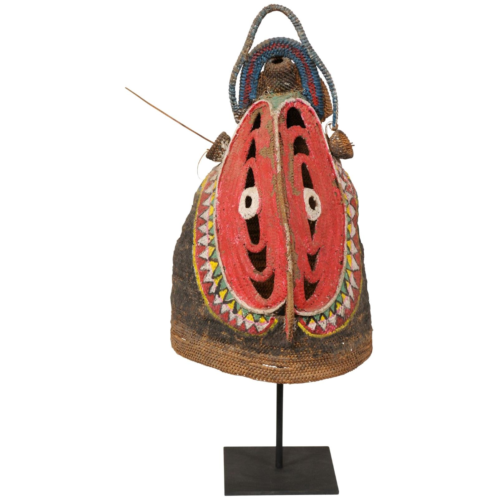 Vibrantly Colored Baba Festival Mask on Stand from Papua New Guinea