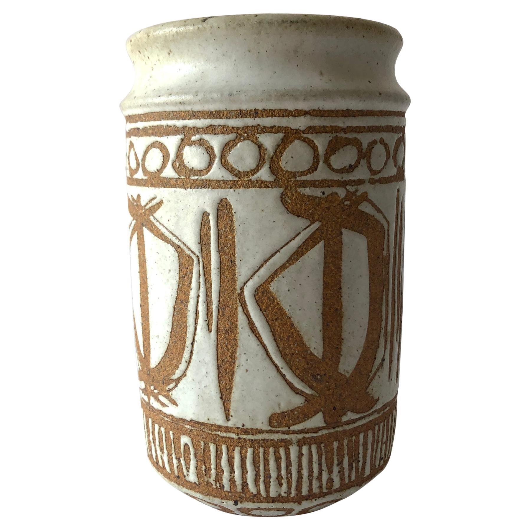 Vic Bracke California Studio Stoneware Pottery Vase with Wax Resist Glazing
