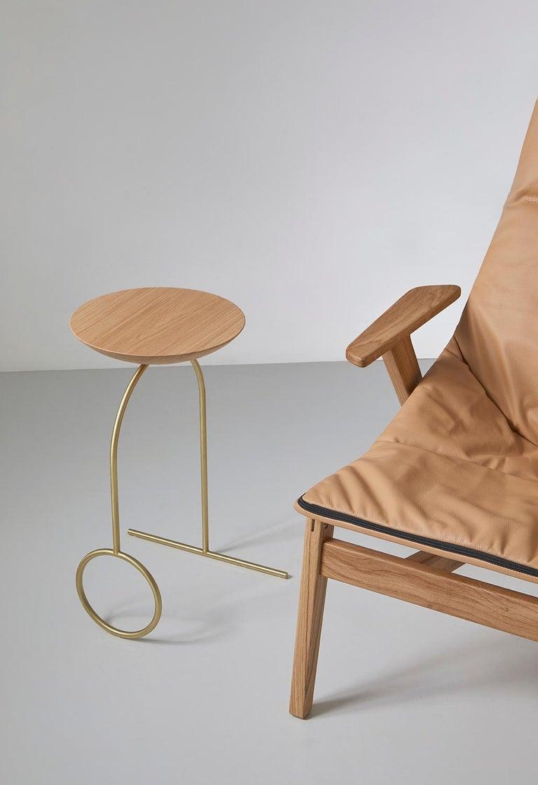 Powder-Coated Viccarbe Giro Sculptural Table, Matt Oak, Black Finish by Pedro Paulo Venzón For Sale