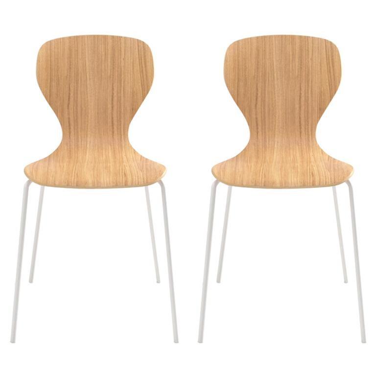 Viccarbe Set of 2 Ears Chair by Piero Lissoni Matt Oak, White Metal Legs