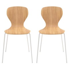 Viccarbe Set of 2 Ears Chair by Piero Lissoni Matt Oak, White Metal Legs