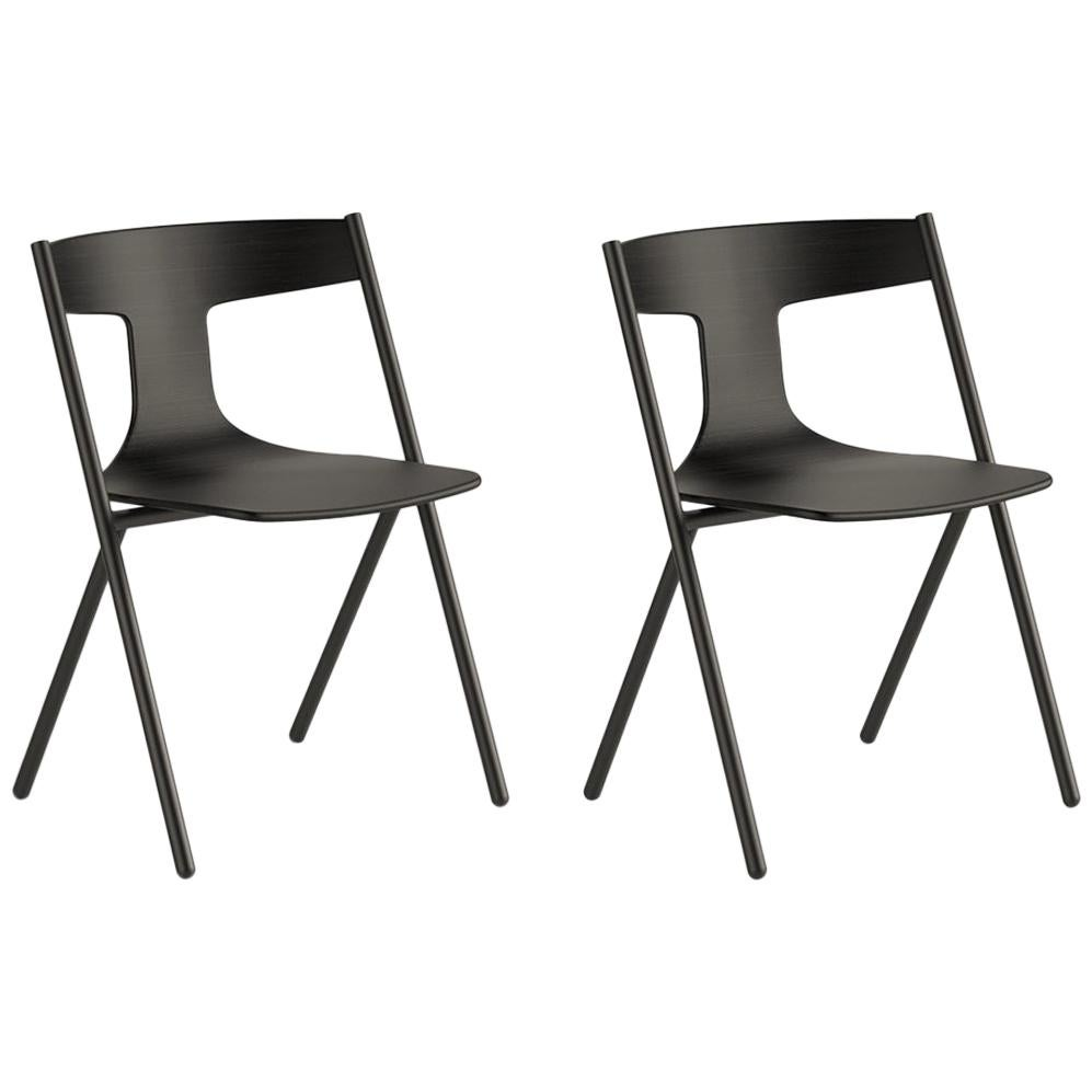 Viccarbe Set of 2 Quadra Chair, Ash/Black, Stackable by Mario Ferrarini