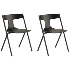 Viccarbe Set of 2 Quadra Chair, Ash/Black, Stackable by Mario Ferrarini