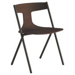 Viccarbe Set of 2 Quadra Chair, Wengue Seat, Stackable by Mario Ferrarini