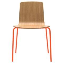 Viccarbe Stackable Klip Chair, Fluorescent Orange Legs, Matt Oak Seat
