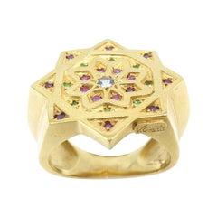 Vicente Gracia Aquamarine Rubies Tsavorites Silver Gold Plated Ring