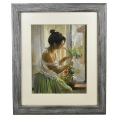 Spanish Young Girl at the Window Pastel Painting by Vicente Romero