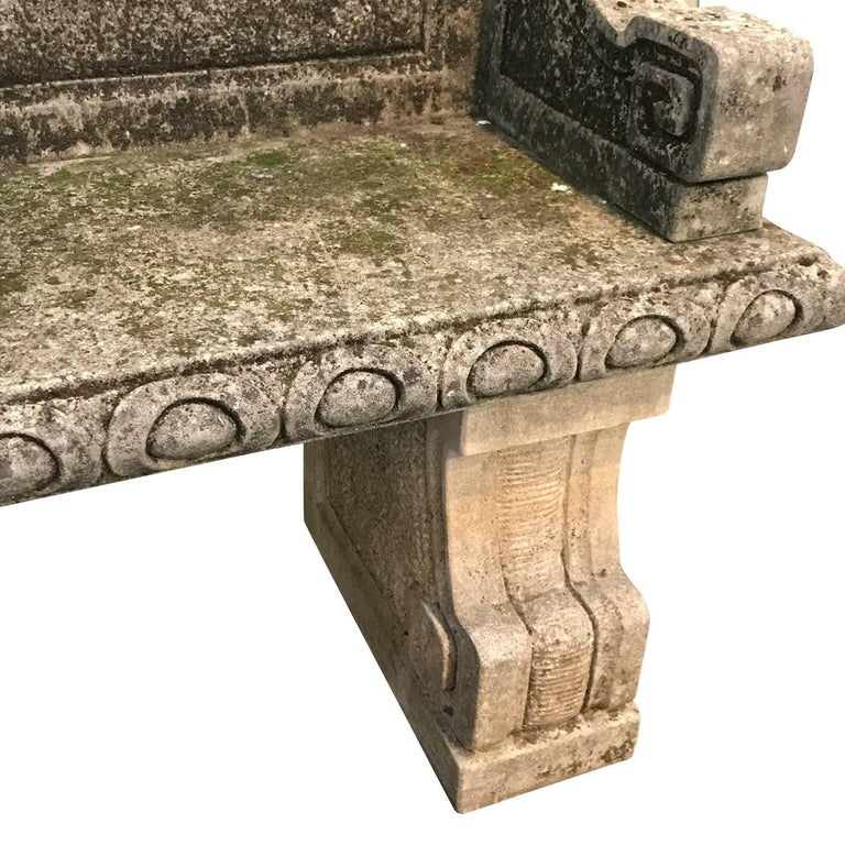 Vicenza Hand Carved Stone Bench with Back, Italy, 1920s 1