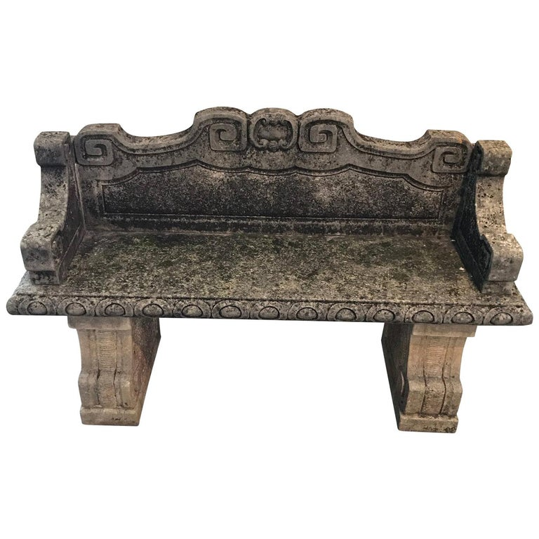 Vicenza Hand Carved Stone Bench with Back, Italy, 1920s