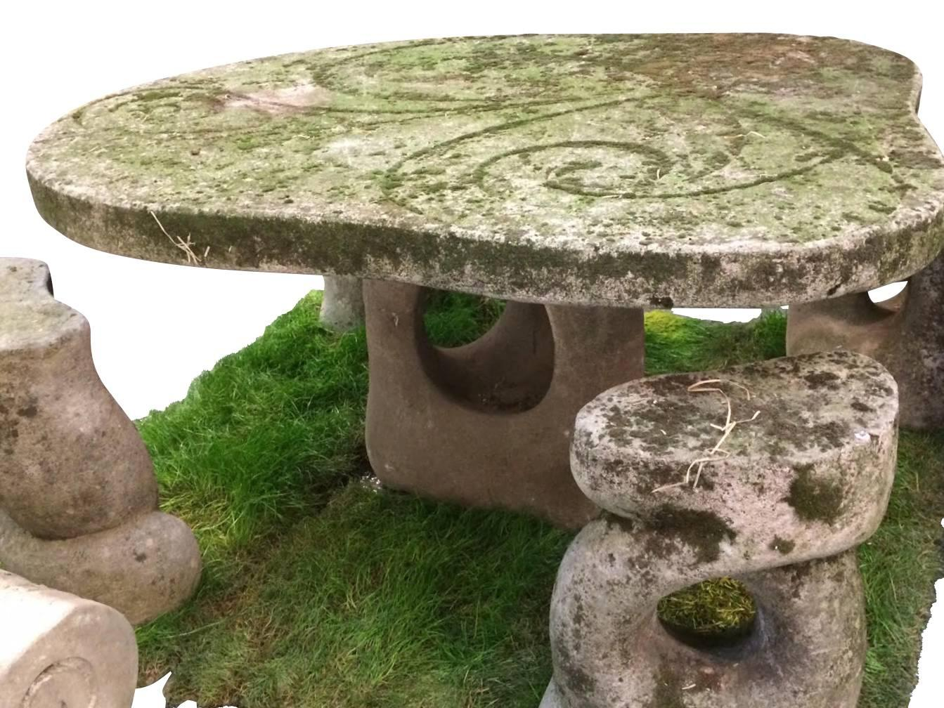 1940s Italian Unusual Design / Shaped Vicenza Stone Garden Table With Four  Whimsical Stone Garden Stools