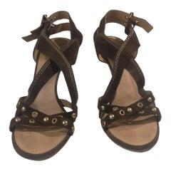 Vicini green suede studs sandals
