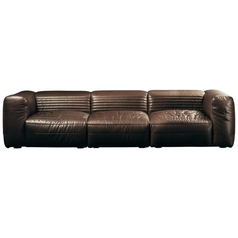 Vicious 3-Seat Modular Sofa in Brown Aniline Leather