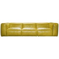 Vicious Dreisitzer Modular Sofa in gelbem Aniline Leder