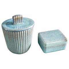 Vicke Lindstrand, Ekeby Urn and and Ceramic Box with Lid, Sweden, 1960