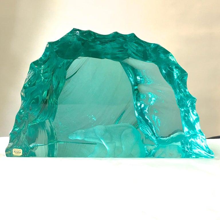 Vicke Lindstrand for Kosta Boda Art Glass Sculpture with Polar Bears For Sale 9